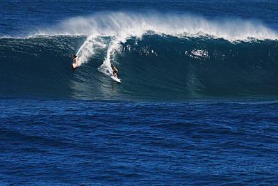 Sharing A Wave In Waimea Bay Poster by Richard Cheski