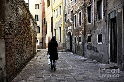 She Walks In Venice Poster by John Rizzuto