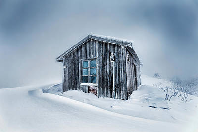Shed In The Blizzard Poster by Evgeni Dinev