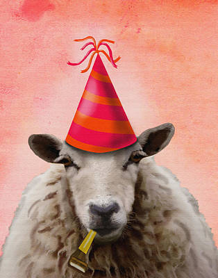 Sheep Party Sheep Poster by Kelly McLaughlan