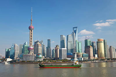 Ship And Pudong Skyline, Shanghai, China Poster by Peter Adams