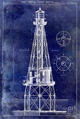 Ship Shoal Light House Blueprint Poster by Jon Neidert