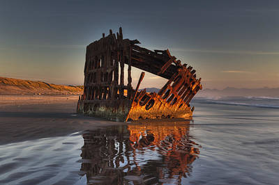 Shipwreck At Sunset Poster by Mark Kiver