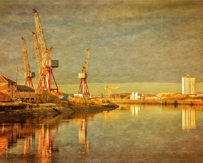 Shipyard On The River Clyde In Scotland Poster by Tylie Duff