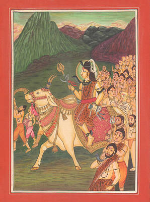 Shiv Shankar Marriage Hindu God Mysterious Art Vedic Yoga  Poster by A K Mundhra