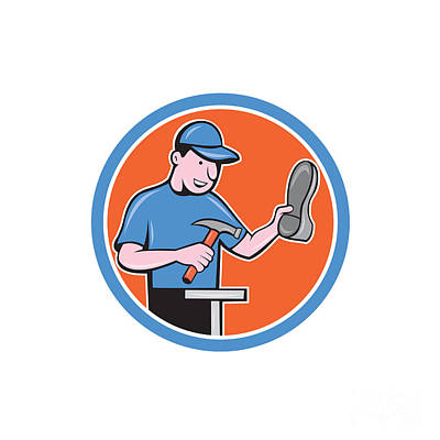 Shoemaker With Hammer Shoe Cartoon Poster by Aloysius Patrimonio