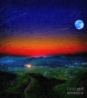Shooting Stary Night Art Poster by Celestial Images
