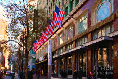 Shopping Along Market Street In San Francisco - 5d20712 Poster by Wingsdomain Art and Photography