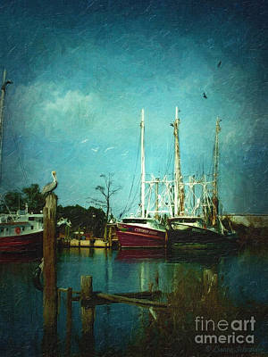 Shrimp Boats Is A Comin Poster by Lianne Schneider
