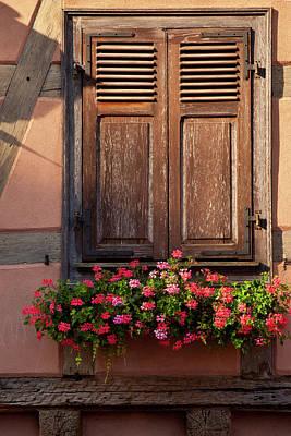 Shuttered Window And Flower Box Poster by Brian Jannsen