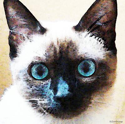 Siamese Cat Art - Black And Tan Poster by Sharon Cummings