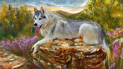 Siberian Leisure - Siberian Husky Painting Poster by Lourry Legarde