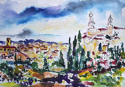 Siena Italy Tuscan Landscape Watercolor Poster by Ginette Callaway