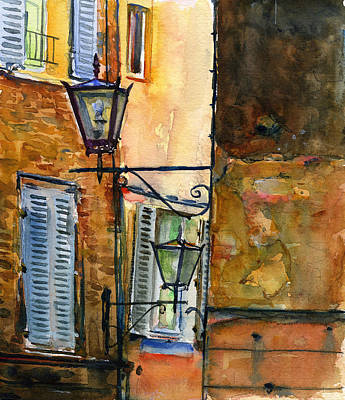 Siena Street Lamps Poster by John D Benson