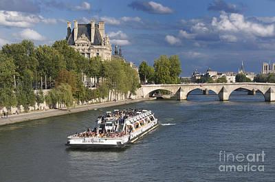 Sightseeing Cruise Boat On River Seine. Paris Poster by Bernard Jaubert