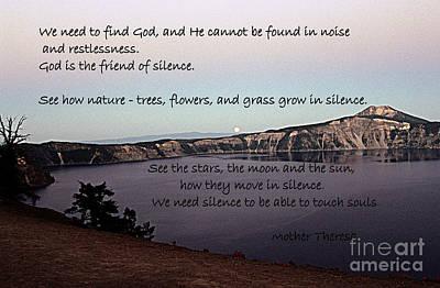 Silence - Mother Theresa Poster by Sharon Elliott