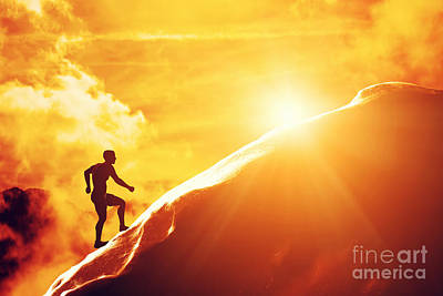 Silhouette Of A Man Running Up Hill To The Peak Of The Mountain Poster by Michal Bednarek