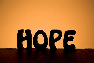 Silhouette Single Word Hope Poster by Donald  Erickson