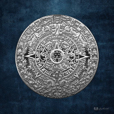 Silver Mayan-aztec Calendar On Blue Poster by Serge Averbukh