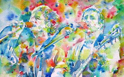Simon And Garfunkel - Watercolor Portrait Poster by Fabrizio Cassetta