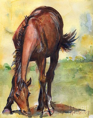 Horse Grazing Simplicity  Poster by Maria's Watercolor