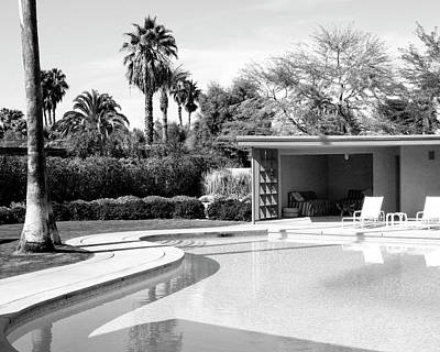 Sinatra Pool And Cabana Bw Palm Springs Poster by William Dey