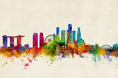 Singapore Skyline Poster by Michael Tompsett