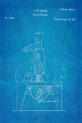 Singer Sewing Machine Patent Art 1851 Blueprint Poster by Ian Monk