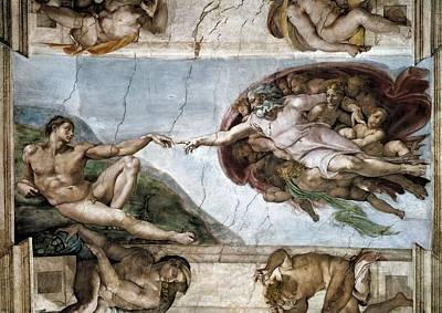 Sistine Chapel. The Creation Of Adam Poster by Everett