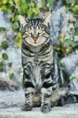 Sitting Cat Poster by George Atsametakis
