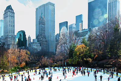 Skaters Central Park Wollman Rink Poster by Regina Geoghan