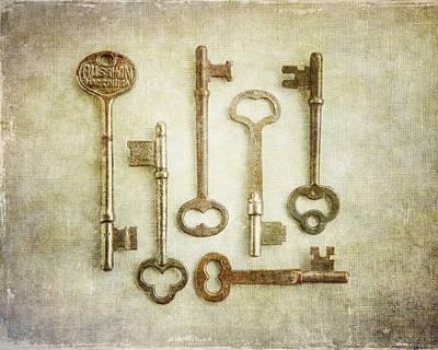 Skeleton Key Print Of Vintage Key Arrangement Poster by Lisa Russo