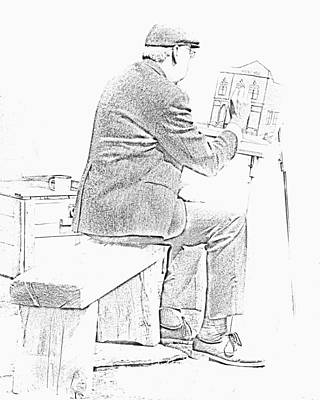 Sketch Of Old Man Painting  Alberta Poster by Ron Harris