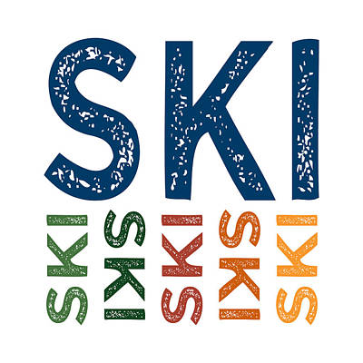 Ski Cute Colorful Poster by Flo Karp