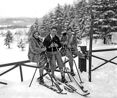 Skiers Takes A Break Poster by Underwood Archives