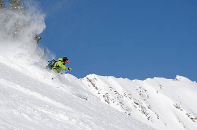 Skiing Fresh Powder On Little Superior Poster by Howie Garber