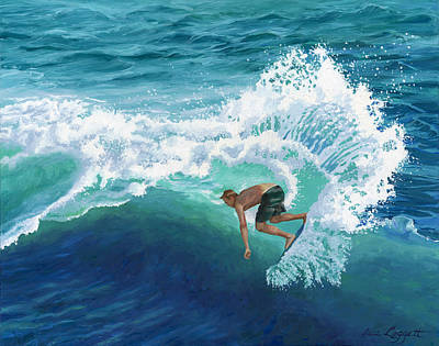 Skimboard Surfer Poster by Alice Leggett