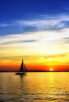 Skipjack Under Full Sail At Sunset Poster by Thomas R Fletcher