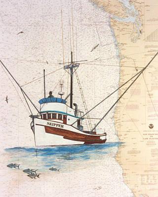 Skipper Tuna Fishing Boat Nautical Chart Art Poster by Cathy Peek