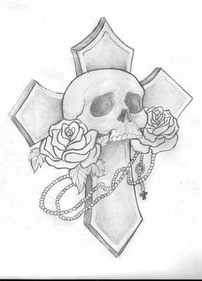 Skull And Cross Tattoo Poster by Leah Thornton