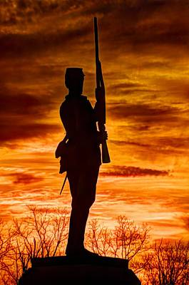 Sky Fire - The Flames Of War - 11th Pennsylvania Volunteer Infantry At Gettysburg - Sunset Close1 Poster by Michael Mazaika
