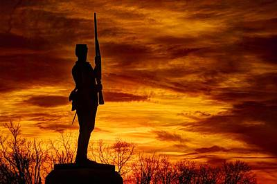 Sky Fire - The Flames Of War - 11th Pennsylvania Volunteer Infantry At Gettysburg - Sunset Close3 Poster by Michael Mazaika