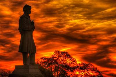 Sky Fire - West Virginia At Gettysburg - 7th Wv Volunteer Infantry Vigilance On East Cemetery Hill Poster by Michael Mazaika
