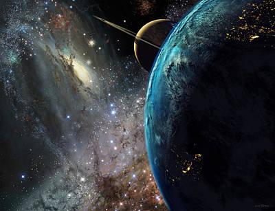Galaxies Collide Over Terraformed Titan Poster by Don Dixon