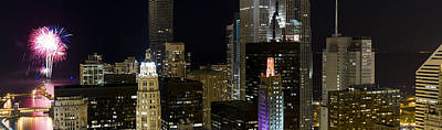 Skyscrapers And Firework Display Poster by Panoramic Images