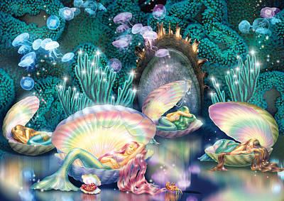 Sleeping Mermaids Poster by Zorina Baldescu
