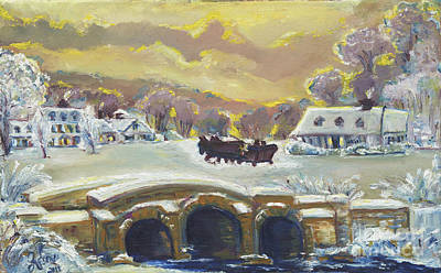 Sleigh Ride By The Creek Poster by Helena Bebirian