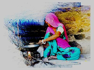 Slice Of Life Mud Oven Chulha Tandoor Indian Village Rajasthani 2 Poster by Sue Jacobi