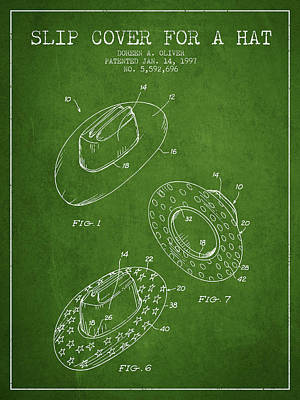 Slip Cover For A A Hat Patent From 1997 - Green Poster by Aged Pixel