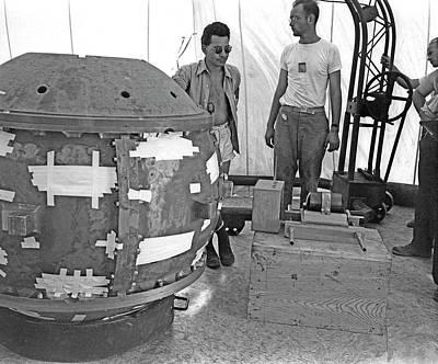 Slotin With The Trinity Atom Bomb Poster by Los Alamos National Laboratory